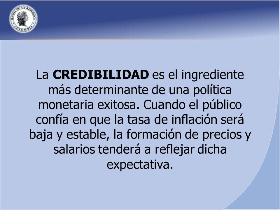 La CREDIBILIDAD es el ingrediente más determinante de una política monetaria exitosa.