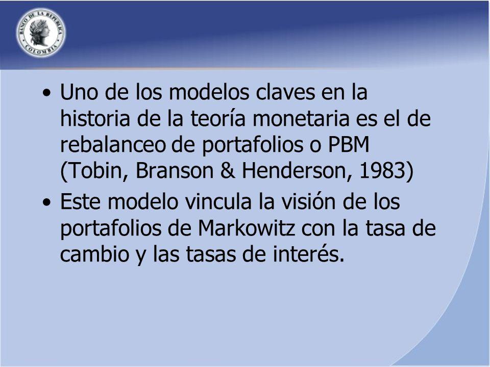 Uno de los modelos claves en la historia de la teoría monetaria es el de rebalanceo de portafolios o PBM (Tobin, Branson & Henderson, 1983) Este modelo vincula la visión de los portafolios de Markowitz con la tasa de cambio y las tasas de interés.