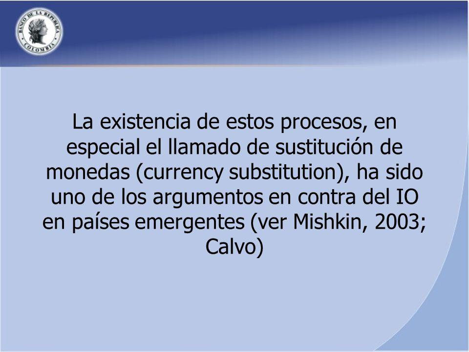 La existencia de estos procesos, en especial el llamado de sustitución de monedas (currency substitution), ha sido uno de los argumentos en contra del IO en países emergentes (ver Mishkin, 2003; Calvo)