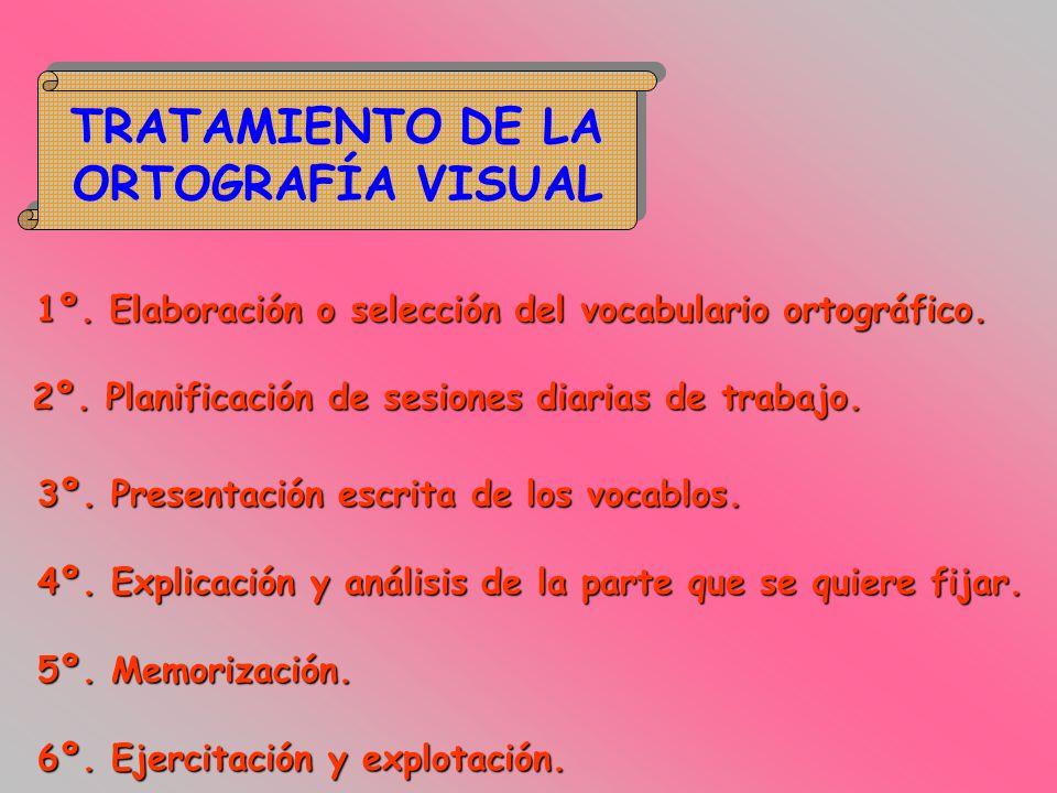 TRATAMIENTO DE LA ORTOGRAFÍA VISUAL TRATAMIENTO DE LA ORTOGRAFÍA VISUAL 1º. Elaboración o selección del vocabulario ortográfico. 2º. Planificación de