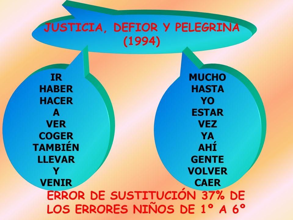 JUSTICIA, DEFIOR Y PELEGRINA (1994) IR HABER HACER A VER COGER TAMBIÉN LLEVAR Y VENIR MUCHO HASTA YO ESTAR VEZ YA AHÍ GENTE VOLVER CAER ERROR DE SUSTI