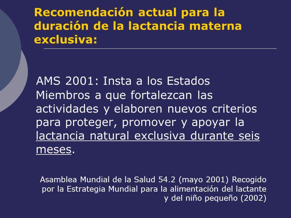 Recomendación actual para la duración de la lactancia materna exclusiva: AMS 2001: Insta a los Estados Miembros a que fortalezcan las actividades y el