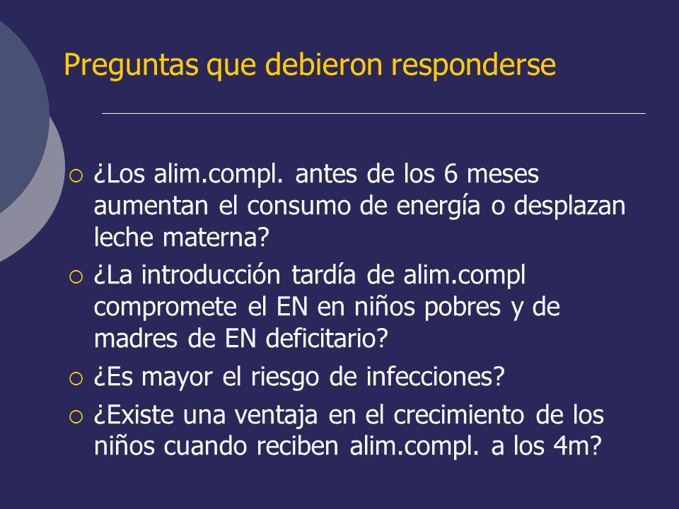 Preguntas que debieron responderse ¿Los alim.compl. antes de los 6 meses aumentan el consumo de energía o desplazan leche materna? ¿La introducción ta