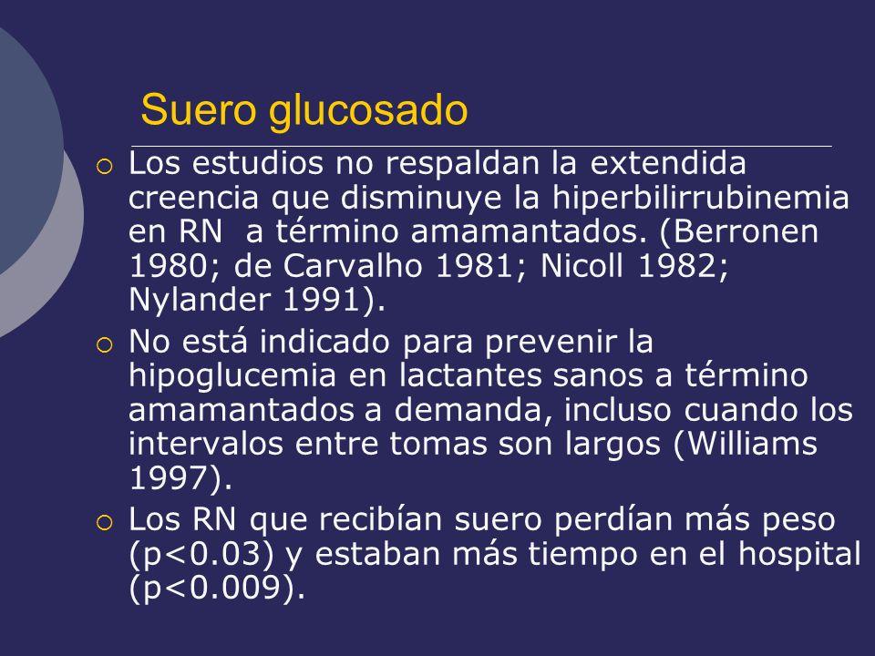 Suero glucosado Los estudios no respaldan la extendida creencia que disminuye la hiperbilirrubinemia en RN a término amamantados. (Berronen 1980; de C