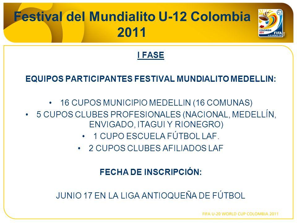 Festival del Mundialito U-12 Colombia 2011 I FASE EQUIPOS PARTICIPANTES FESTIVAL MUNDIALITO MEDELLIN: 16 CUPOS MUNICIPIO MEDELLIN (16 COMUNAS) 5 CUPOS CLUBES PROFESIONALES (NACIONAL, MEDELLÍN, ENVIGADO, ITAGUI Y RIONEGRO) 1 CUPO ESCUELA FÚTBOL LAF.