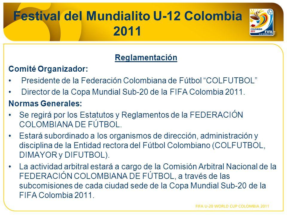 Festival del Mundialito U-12 Colombia 2011 Reglamentación Comité Organizador: Presidente de la Federación Colombiana de Fútbol COLFUTBOL Director de la Copa Mundial Sub-20 de la FIFA Colombia 2011.