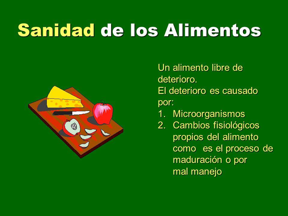 Sanidad de los Alimentos Un alimento libre de deterioro. El deterioro es causado por: 1. Microorganismos 2. Cambios fisiológicos propios del alimento