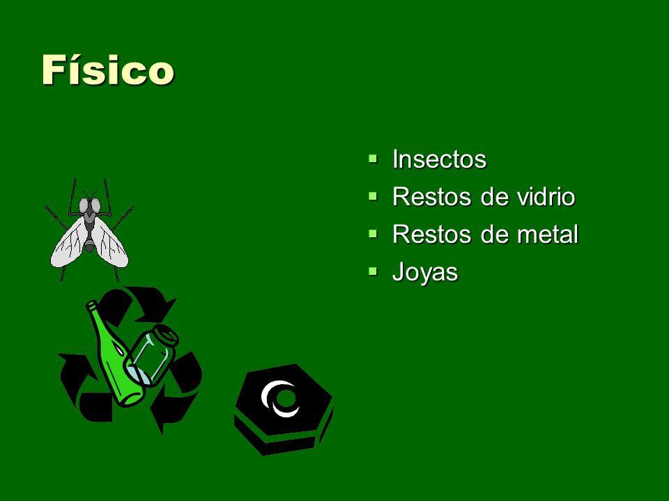 Físico Insectos Insectos Restos de vidrio Restos de vidrio Restos de metal Restos de metal Joyas Joyas