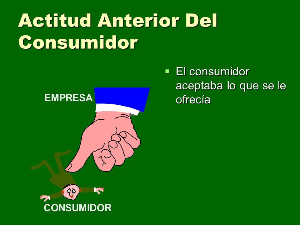 Actitud Anterior Del Consumidor El consumidor aceptaba lo que se le ofrecía El consumidor aceptaba lo que se le ofrecía CONSUMIDOR EMPRESA