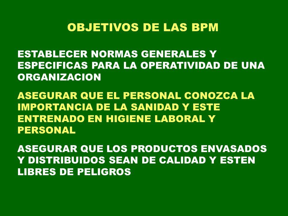 OBJETIVOS DE LAS BPM ESTABLECER NORMAS GENERALES Y ESPECIFICAS PARA LA OPERATIVIDAD DE UNA ORGANIZACION ASEGURAR QUE EL PERSONAL CONOZCA LA IMPORTANCI
