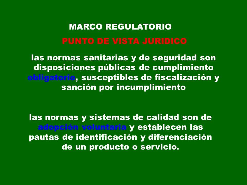 MARCO REGULATORIO PUNTO DE VISTA JURIDICO las normas sanitarias y de seguridad son disposiciones públicas de cumplimiento obligatorio, susceptibles de