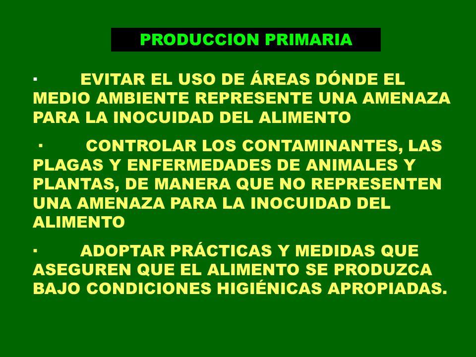 PRODUCCION PRIMARIA · EVITAR EL USO DE ÁREAS DÓNDE EL MEDIO AMBIENTE REPRESENTE UNA AMENAZA PARA LA INOCUIDAD DEL ALIMENTO · CONTROLAR LOS CONTAMINANT