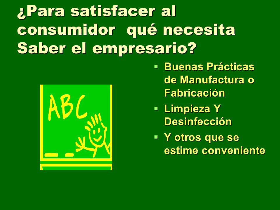 ¿Para satisfacer al consumidor qué necesita Saber el empresario? Buenas Prácticas de Manufactura o Fabricación Buenas Prácticas de Manufactura o Fabri