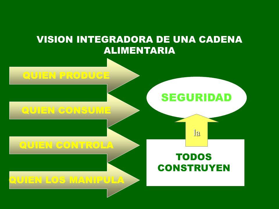 VISION INTEGRADORA DE UNA CADENA ALIMENTARIA QUIEN CONSUME QUIEN PRODUCE QUIEN CONTROLA QUIEN LOS MANIPULA SEGURIDAD TODOS CONSTRUYEN la