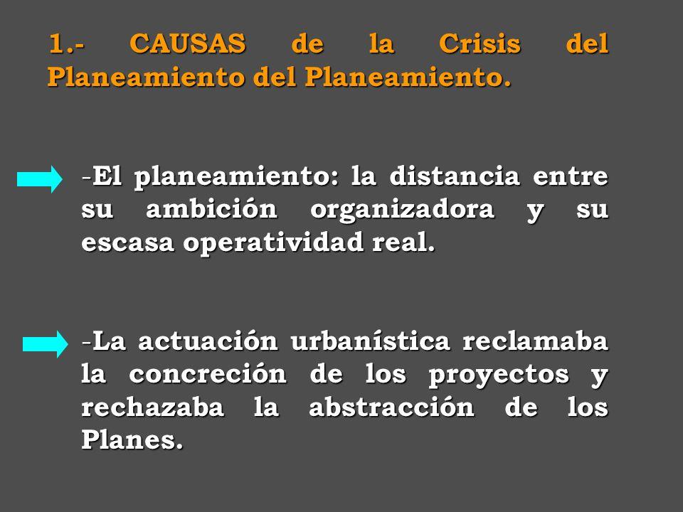 B) Crisis del Plan General Surgen voces cuestionando el sistema del planeamiento urbanístico. -Crisis sobre su función integral: -excesivos contenidos