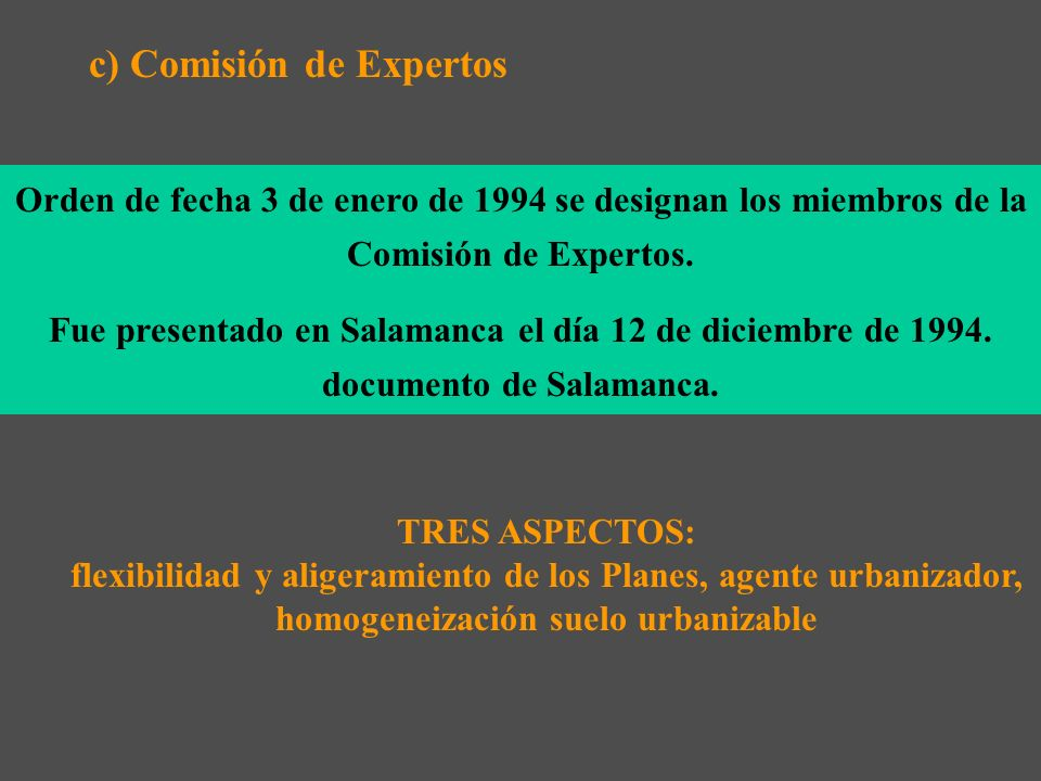 b)Informe del Tribunal de Defensa de la competencia, de mayo de 1993 c)Excesiva intervención de la Administración especialmente en relación a la plani