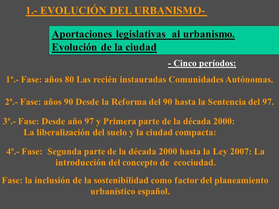 1.- EVOLUCIÓN DEL URBANISMO- - Cinco períodos: 1ª.- Fase: años 80 Las recién instauradas Comunidades Autónomas.