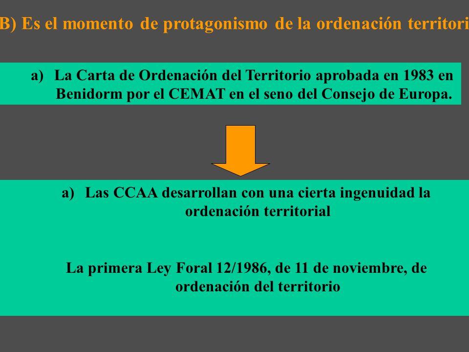 a)La Carta de Ordenación del Territorio aprobada en 1983 en Benidorm por el CEMAT en el seno del Consejo de Europa.