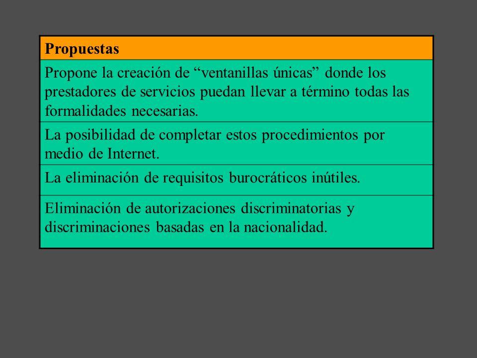 c) - La Directiva sobre liberalización de servicios Directiva Bolkestein 123/2006/CE Objetivos Simplificar los procedimientos administrativos. Elimina