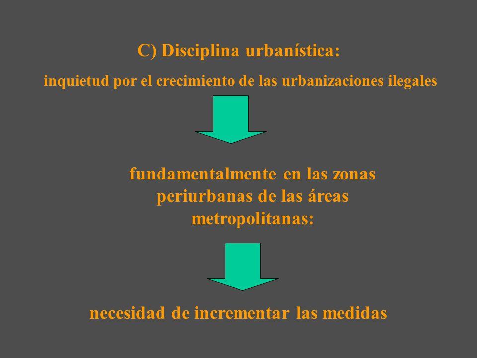 C) Disciplina urbanística: inquietud por el crecimiento de las urbanizaciones ilegales fundamentalmente en las zonas periurbanas de las áreas metropolitanas: necesidad de incrementar las medidas