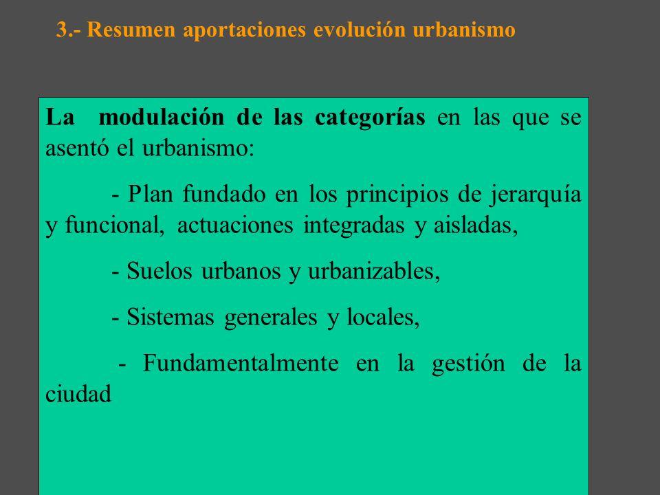 3.- Resumen aportaciones evolución urbanismo A.- Aportaciones de las CCAA : la estructura básica de la Ley del 56 y 75 continúan : El Plan, el princip