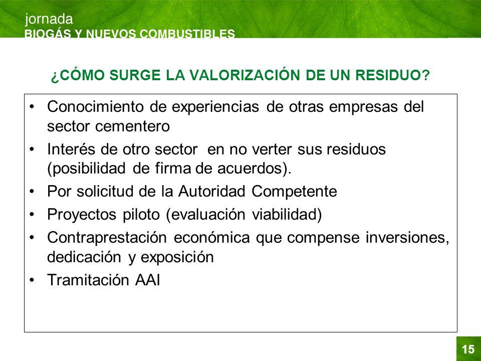 15 ¿CÓMO SURGE LA VALORIZACIÓN DE UN RESIDUO? Conocimiento de experiencias de otras empresas del sector cementero Interés de otro sector en no verter
