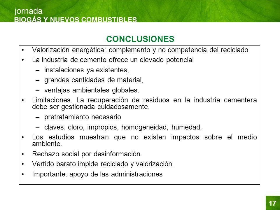17 CONCLUSIONES Valorización energética: complemento y no competencia del reciclado La industria de cemento ofrece un elevado potencial –instalaciones