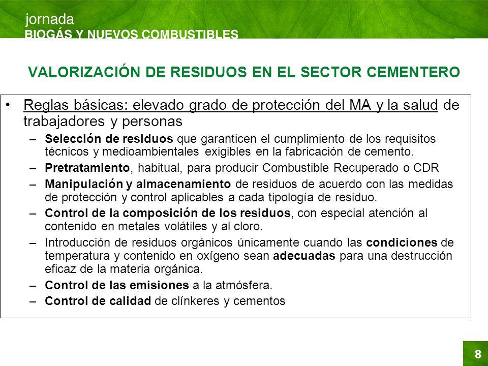 8 VALORIZACIÓN DE RESIDUOS EN EL SECTOR CEMENTERO Reglas básicas: elevado grado de protección del MA y la salud de trabajadores y personas –Selección