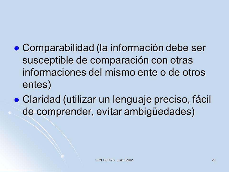 CPN GARCIA,Juan Carlos21 Comparabilidad (la información debe ser susceptible de comparación con otras informaciones del mismo ente o de otros entes) C