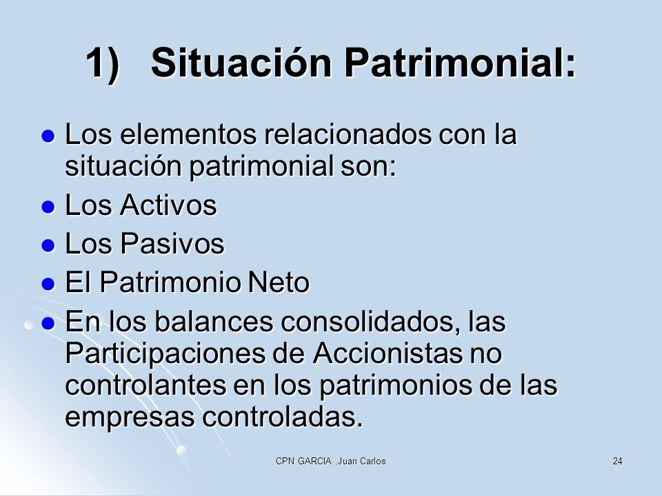 CPN GARCIA,Juan Carlos24 1)Situación Patrimonial: Los elementos relacionados con la situación patrimonial son: Los elementos relacionados con la situa