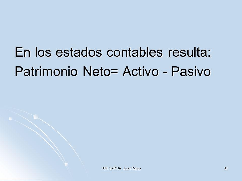CPN GARCIA,Juan Carlos30 En los estados contables resulta: Patrimonio Neto= Activo - Pasivo