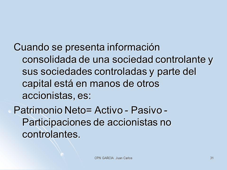 CPN GARCIA,Juan Carlos31 Cuando se presenta información consolidada de una sociedad controlante y sus sociedades controladas y parte del capital está en manos de otros accionistas, es: Patrimonio Neto= Activo - Pasivo - Participaciones de accionistas no controlantes.