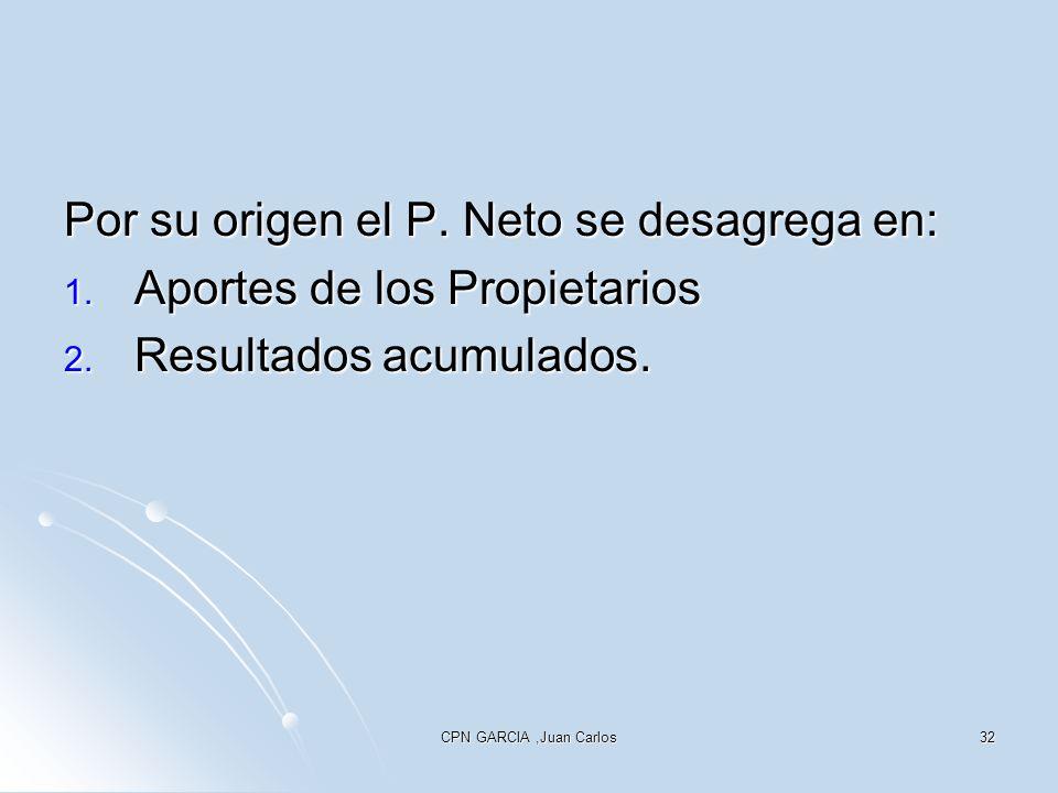 CPN GARCIA,Juan Carlos32 Por su origen el P. Neto se desagrega en: 1. Aportes de los Propietarios 2. Resultados acumulados.