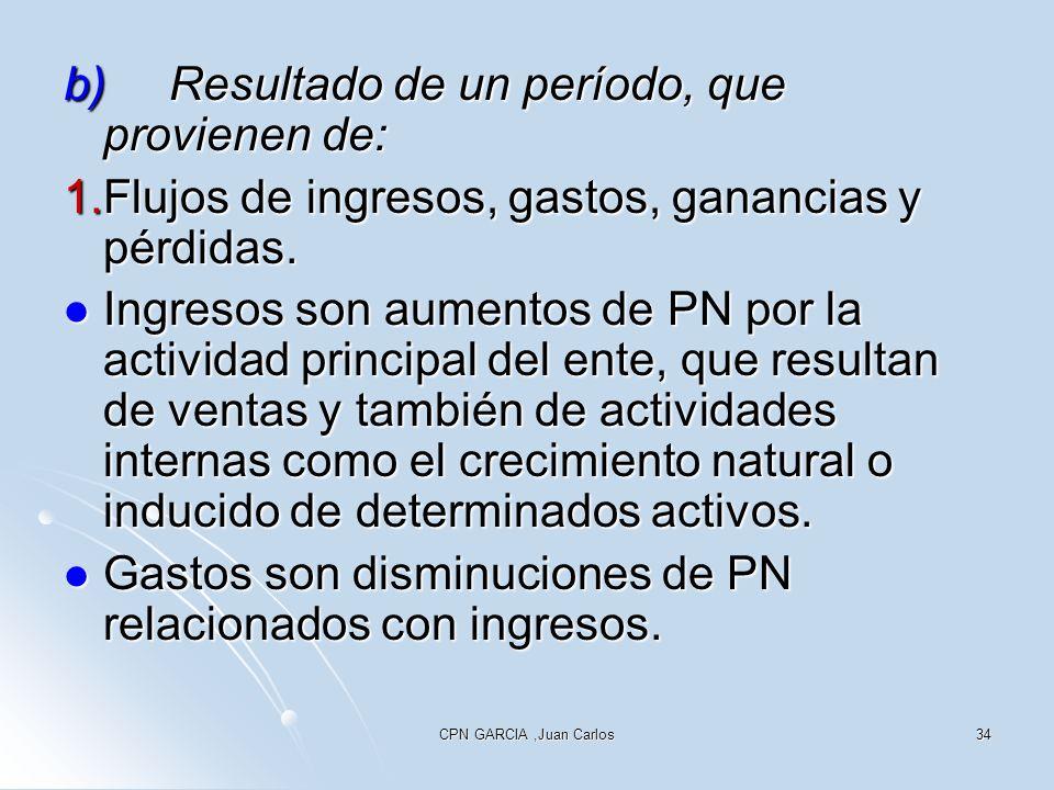 CPN GARCIA,Juan Carlos34 b)Resultado de un período, que provienen de: 1.Flujos de ingresos, gastos, ganancias y pérdidas. Ingresos son aumentos de PN