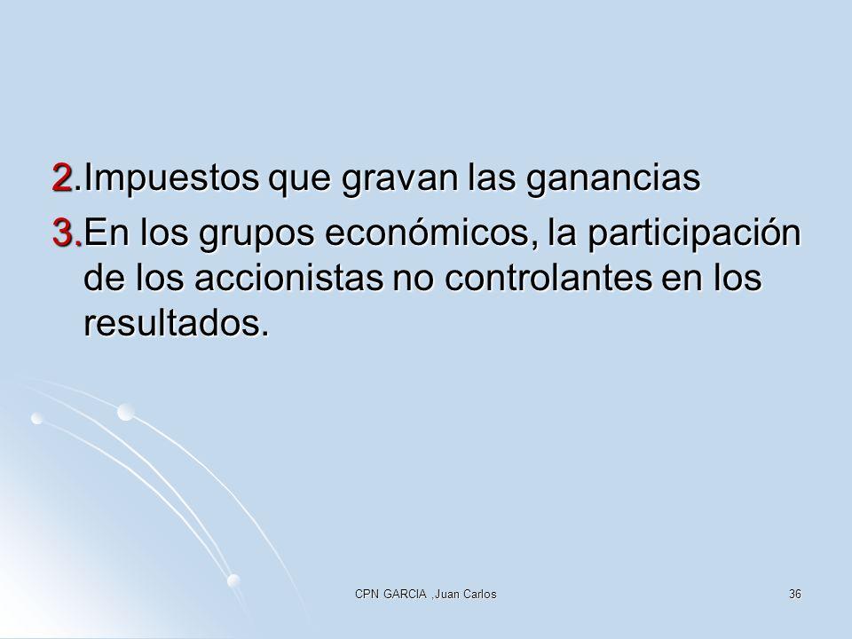 CPN GARCIA,Juan Carlos36 2.Impuestos que gravan las ganancias 3.En los grupos económicos, la participación de los accionistas no controlantes en los resultados.