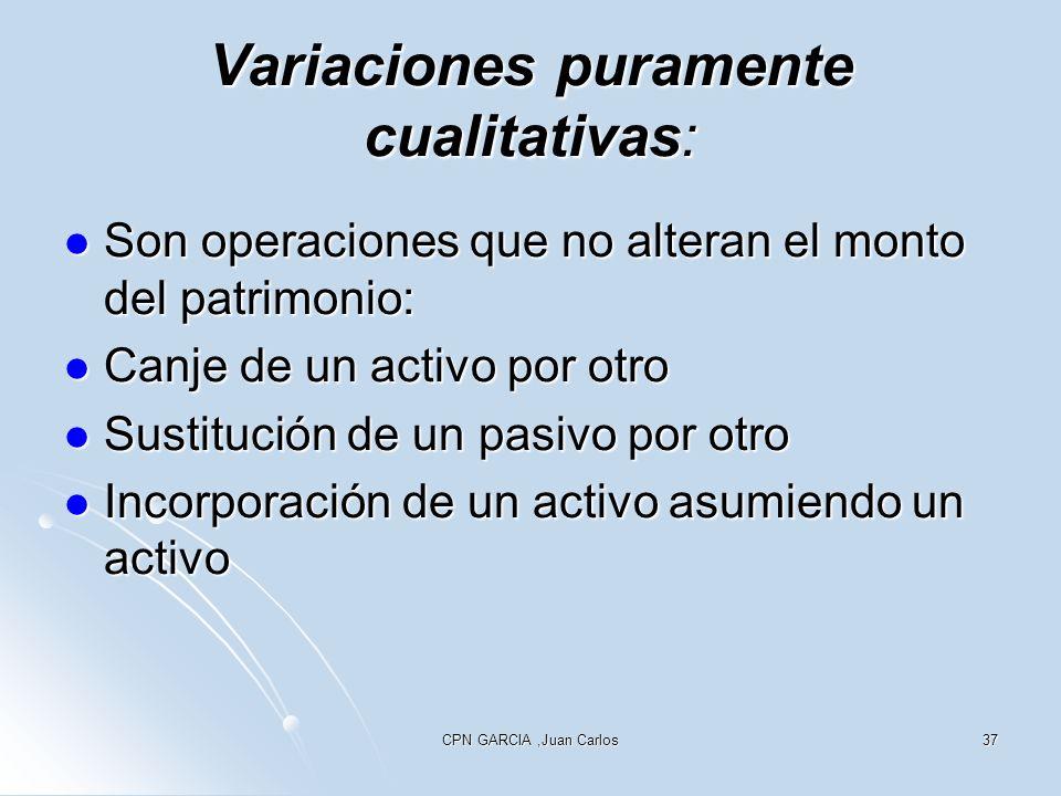 CPN GARCIA,Juan Carlos37 Variaciones puramente cualitativas: Son operaciones que no alteran el monto del patrimonio: Son operaciones que no alteran el