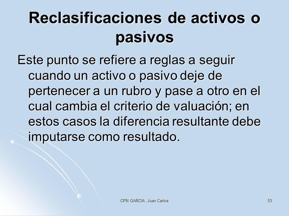 CPN GARCIA,Juan Carlos53 Reclasificaciones de activos o pasivos Este punto se refiere a reglas a seguir cuando un activo o pasivo deje de pertenecer a un rubro y pase a otro en el cual cambia el criterio de valuación; en estos casos la diferencia resultante debe imputarse como resultado.
