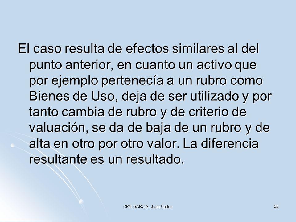 CPN GARCIA,Juan Carlos55 El caso resulta de efectos similares al del punto anterior, en cuanto un activo que por ejemplo pertenecía a un rubro como Bienes de Uso, deja de ser utilizado y por tanto cambia de rubro y de criterio de valuación, se da de baja de un rubro y de alta en otro por otro valor.