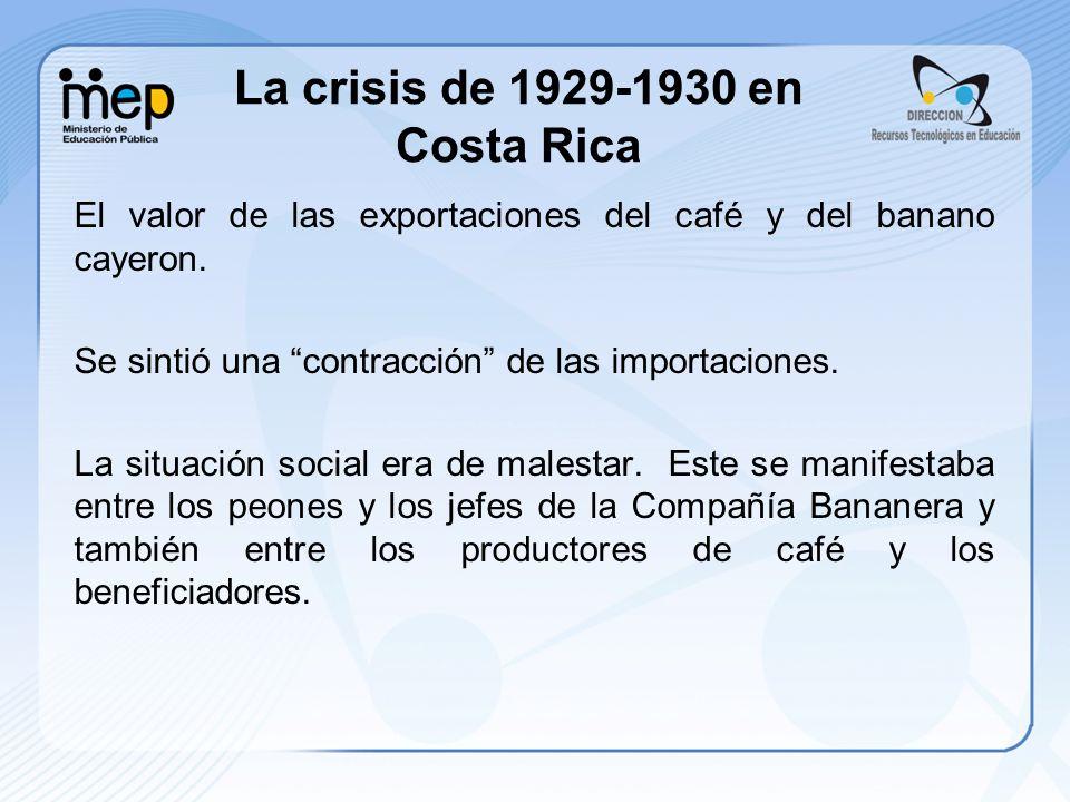 El valor de las exportaciones del café y del banano cayeron. Se sintió una contracción de las importaciones. La situación social era de malestar. Este