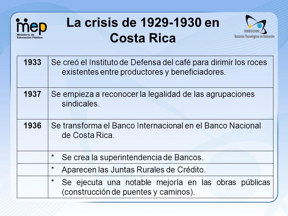 1933Se creó el Instituto de Defensa del café para dirimir los roces existentes entre productores y beneficiadores. 1937Se empieza a reconocer la legal