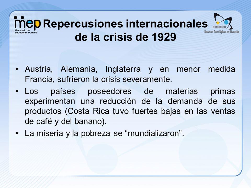 Repercusiones internacionales de la crisis de 1929 Austria, Alemania, Inglaterra y en menor medida Francia, sufrieron la crisis severamente. Los paíse