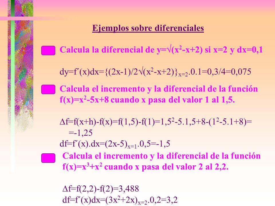 Ejemplos sobre diferenciales Calcula la diferencial de y= (x 2 -x+2) si x=2 y dx=0,1 dy=f´(x)dx={(2x-1)/2 (x 2 -x+2)} x=2.0.1=0,3/4=0,075 Calcula el incremento y la diferencial de la función f(x)=x 2 -5x+8 cuando x pasa del valor 1 al 1,5.