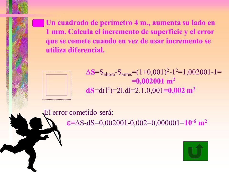 Un cuadrado de perímetro 4 m., aumenta su lado en 1 mm.