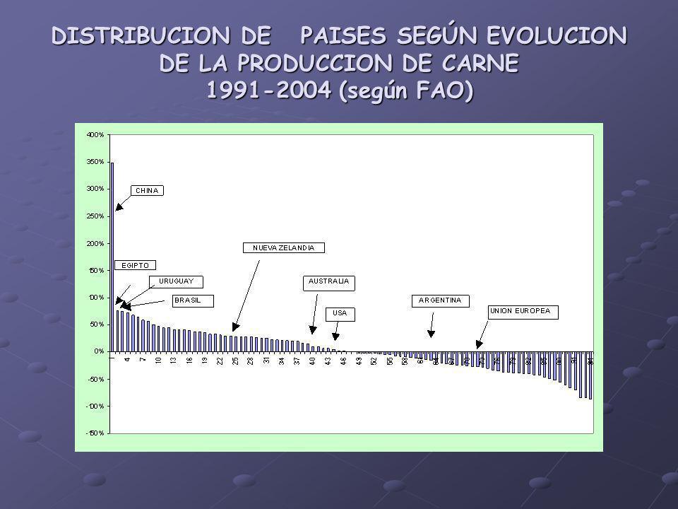 DISTRIBUCION DE PAISES SEGÚN EVOLUCION DE LA PRODUCCION DE CARNE 1991-2004 (según FAO)