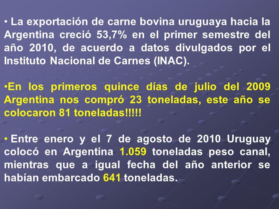 La exportación de carne bovina uruguaya hacia la Argentina creció 53,7% en el primer semestre del año 2010, de acuerdo a datos divulgados por el Instituto Nacional de Carnes (INAC).