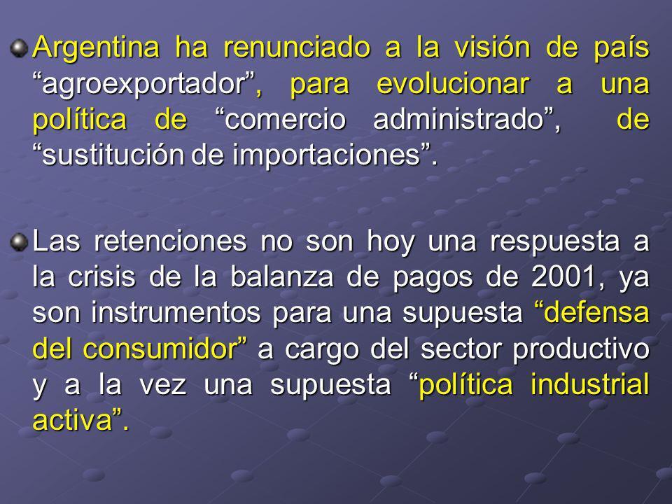 Argentina ha renunciado a la visión de país agroexportador, para evolucionar a una política de comercio administrado, de sustitución de importaciones.