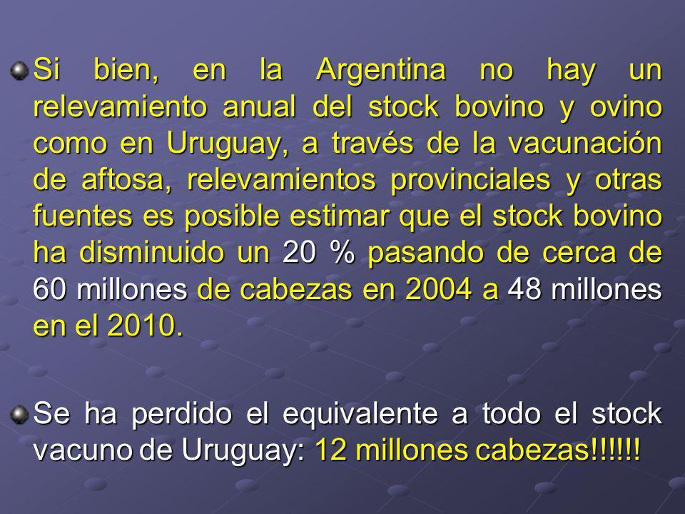 Si bien, en la Argentina no hay un relevamiento anual del stock bovino y ovino como en Uruguay, a través de la vacunación de aftosa, relevamientos provinciales y otras fuentes es posible estimar que el stock bovino ha disminuido un 20 % pasando de cerca de 60 millones de cabezas en 2004 a 48 millones en el 2010.