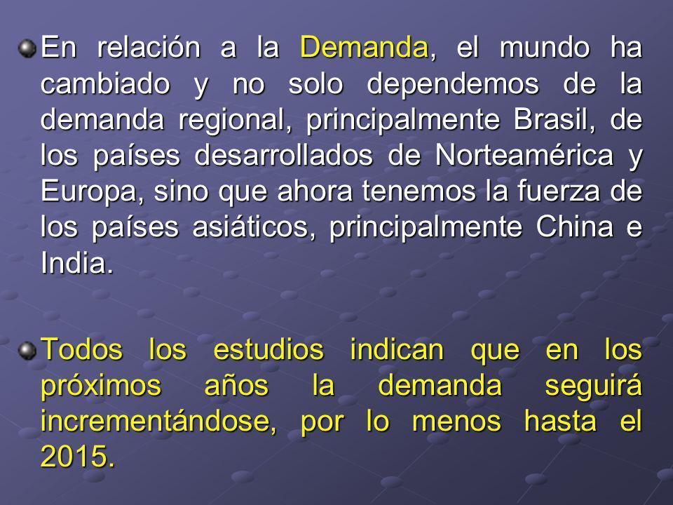 En relación a la Demanda, el mundo ha cambiado y no solo dependemos de la demanda regional, principalmente Brasil, de los países desarrollados de Norteamérica y Europa, sino que ahora tenemos la fuerza de los países asiáticos, principalmente China e India.