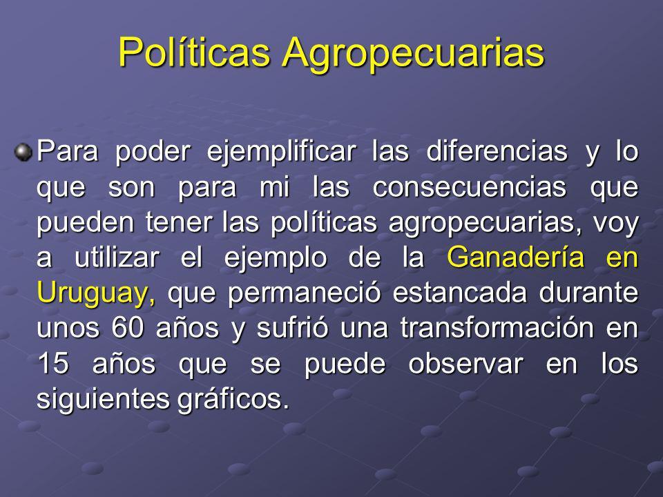 Políticas Agropecuarias Para poder ejemplificar las diferencias y lo que son para mi las consecuencias que pueden tener las políticas agropecuarias, voy a utilizar el ejemplo de la Ganadería en Uruguay, que permaneció estancada durante unos 60 años y sufrió una transformación en 15 años que se puede observar en los siguientes gráficos.