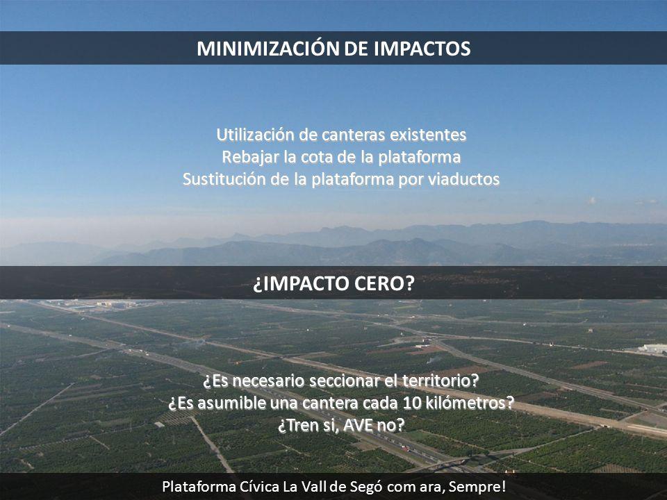 MINIMIZACIÓN DE IMPACTOS Utilización de canteras existentes Rebajar la cota de la plataforma Sustitución de la plataforma por viaductos ¿IMPACTO CERO?